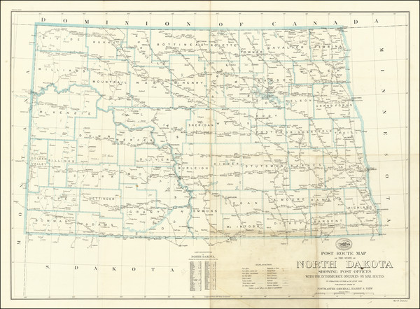 31-South Dakota Map By United States Post Office
