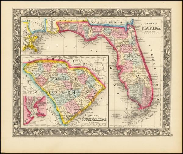 68-Florida Map By Samuel Augustus Mitchell Jr.