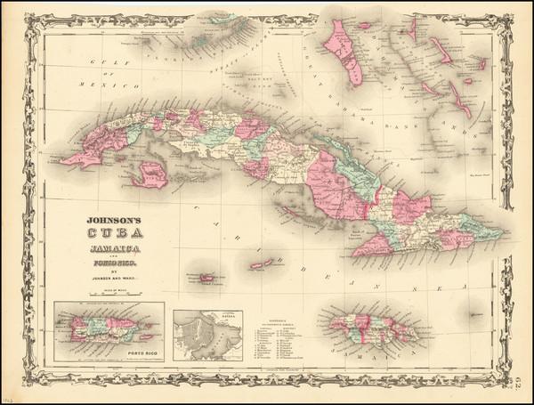 92-Cuba, Puerto Rico and Bahamas Map By Alvin Jewett Johnson  &  Benjamin P Ward