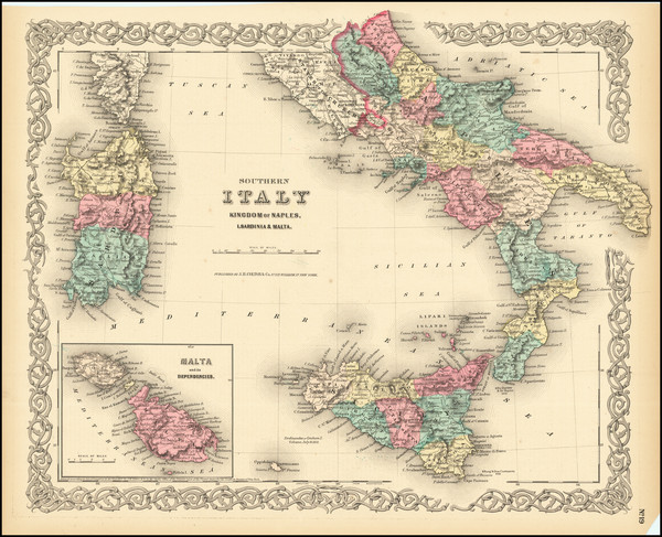 41-Southern Italy, Malta and Sicily Map By Joseph Hutchins Colton