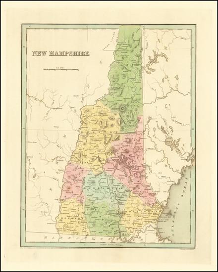 76-New Hampshire Map By Thomas Gamaliel Bradford