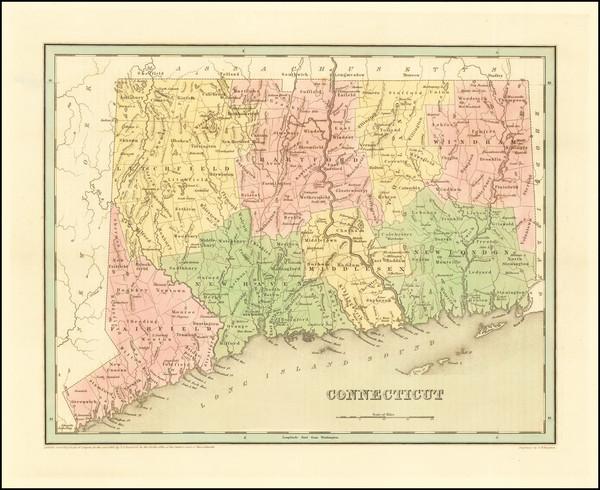 51-Connecticut Map By Thomas Gamaliel Bradford