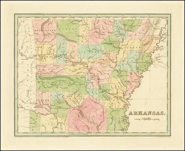 78-Arkansas Map By Thomas Gamaliel Bradford