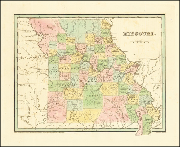 73-Missouri Map By Thomas Gamaliel Bradford