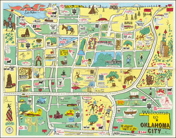 6-Oklahoma & Indian Territory and Pictorial Maps Map By Seven Arts, Inc.