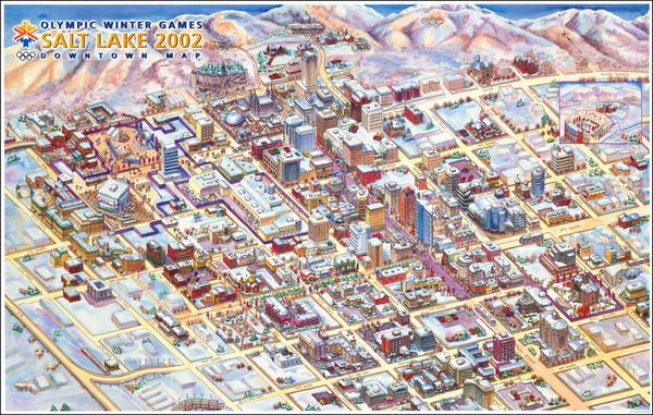 61-Utah, Utah and Pictorial Maps Map By Salt Lake Olympic Committee