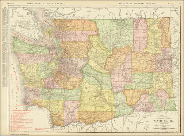 46-Washington Map By Rand McNally & Company