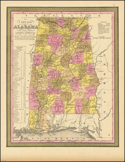 3-Alabama Map By Samuel Augustus Mitchell