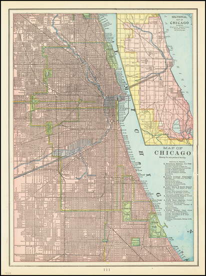 74-Chicago Map By George F. Cram