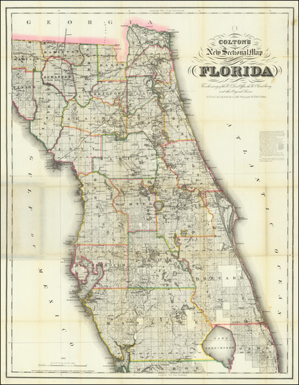 74-Florida Map By G.W.  & C.B. Colton