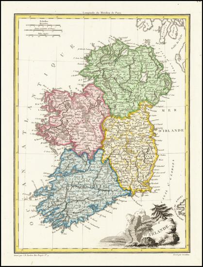 19-Ireland Map By Conrad Malte-Brun / Jean Baptiste Pierre Tardieu