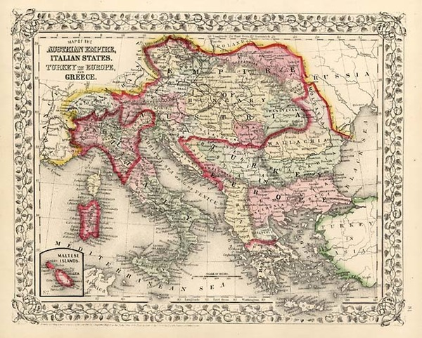 100-Europe, Austria, Balkans, Greece and Balearic Islands Map By Samuel Augustus Mitchell Jr.