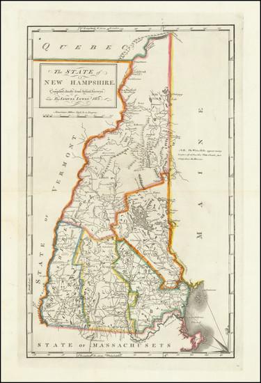 91-New Hampshire Map By Mathew Carey