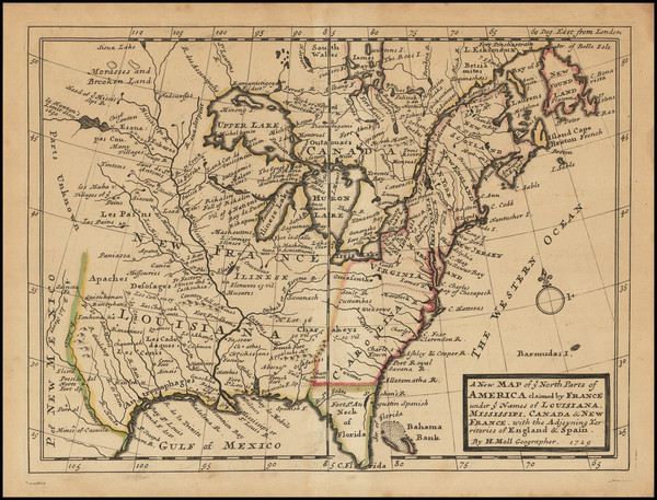 11-United States Map By Herman Moll