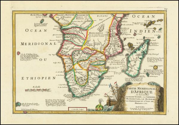 70-South Africa Map By Nicolas de Fer