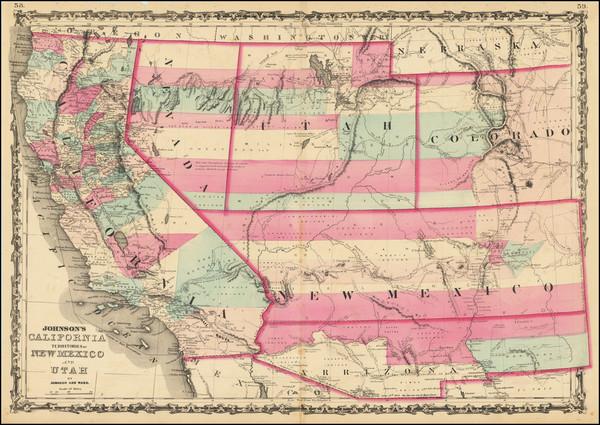 34-Southwest, Rocky Mountains and California Map By Alvin Jewett Johnson  &  Benjamin P Ward