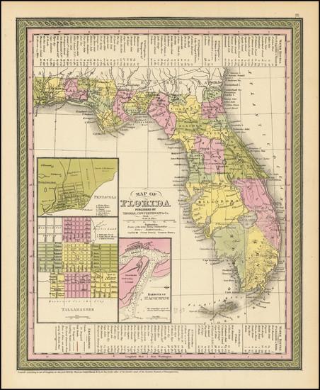4-Florida Map By Thomas, Cowperthwait & Co.