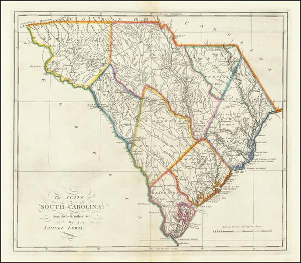 70-South Carolina Map By Mathew Carey