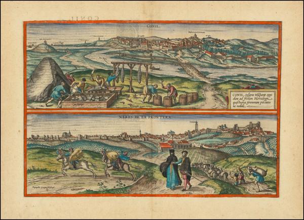 12-Spain Map By Georg Braun  &  Frans Hogenberg