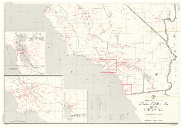 1-California Map By U.S. Post Office Department
