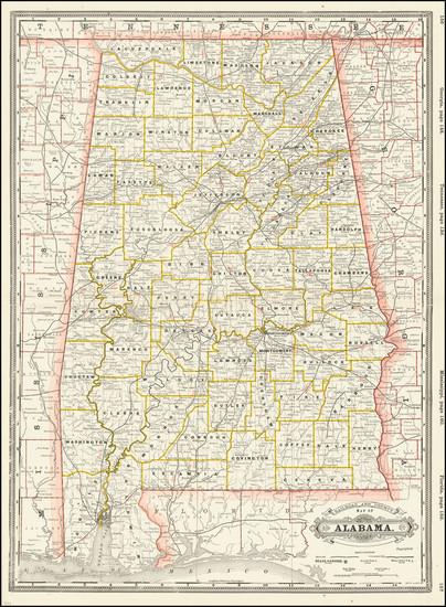 15-Alabama Map By George F. Cram