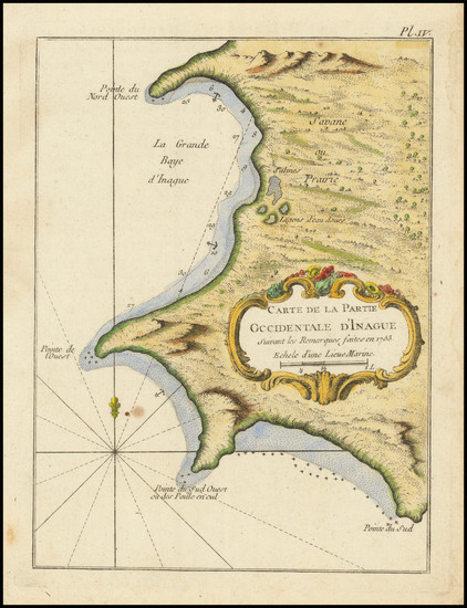 80-Bahamas Map By Jacques Nicolas Bellin