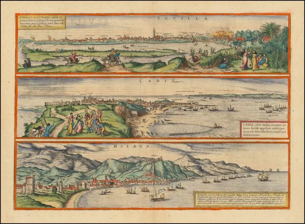 34-Spain Map By Georg Braun  &  Frans Hogenberg