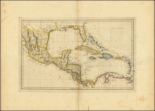 18-Caribbean Map By Mathew Carey