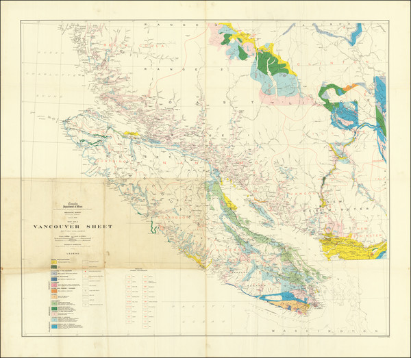 24-British Columbia and Geological Map By Canada Department of Mines