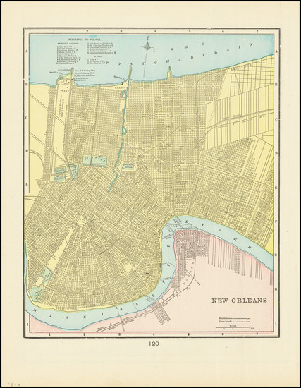 49-New Orleans Map By George F. Cram