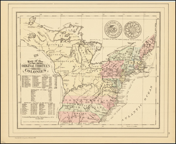 20-United States Map By Samuel Augustus Mitchell Jr.