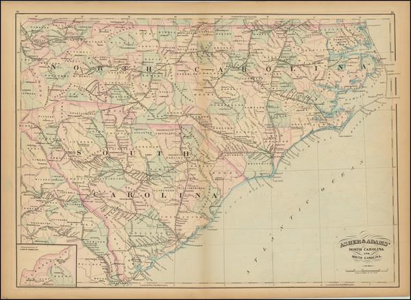 26-North Carolina and South Carolina Map By Asher  &  Adams
