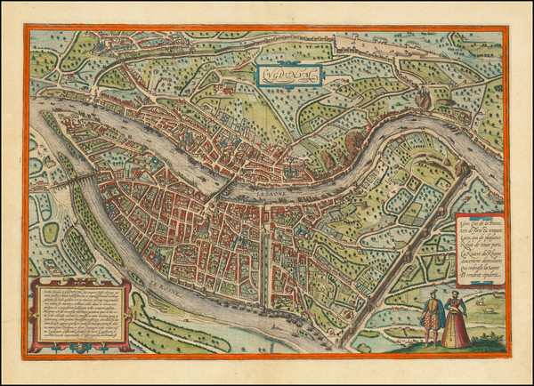 15-Other French Cities Map By Georg Braun  &  Frans Hogenberg