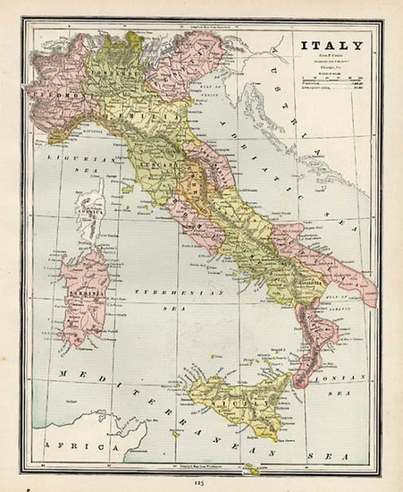 89-Europe and Italy Map By George F. Cram