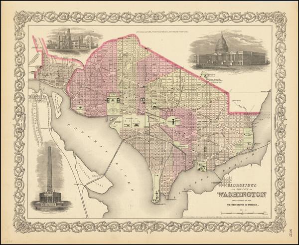 38-Washington, D.C. Map By Joseph Hutchins Colton
