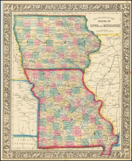 49-Iowa and Missouri Map By Samuel Augustus Mitchell Jr.