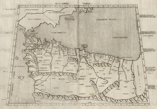 49-Europe, Spain, Portugal, Mediterranean, Africa and North Africa Map By Bernardus Venetus de Vit