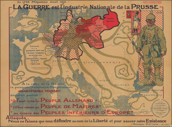 76-Europe, Comic & Anthropomorphic, World War I and Curiosities Map By Maurice Neumont