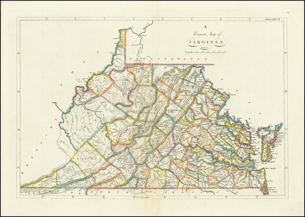 39-West Virginia and Virginia Map By Mathew Carey