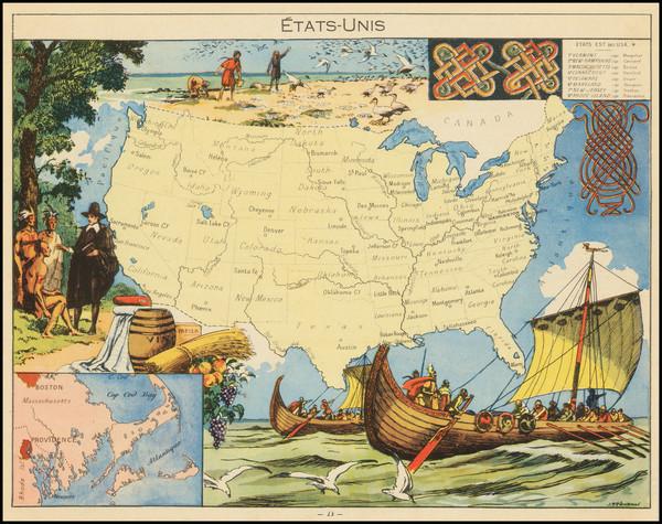 63-United States Map By Joseph Porphyre Pinchon