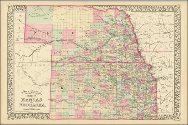 73-Kansas and Nebraska Map By Samuel Augustus Mitchell Jr.