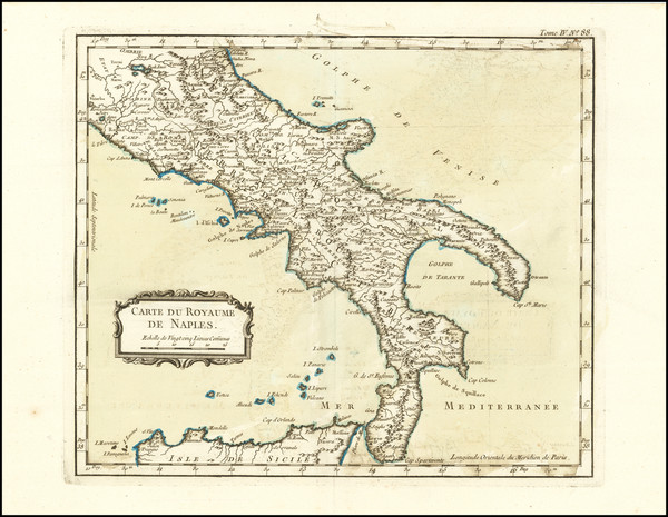 79-Southern Italy Map By Jacques Nicolas Bellin