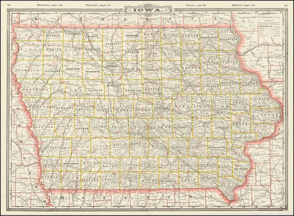 33-Iowa Map By George F. Cram