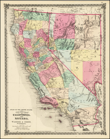 66-Nevada and California Map By H.H. Lloyd