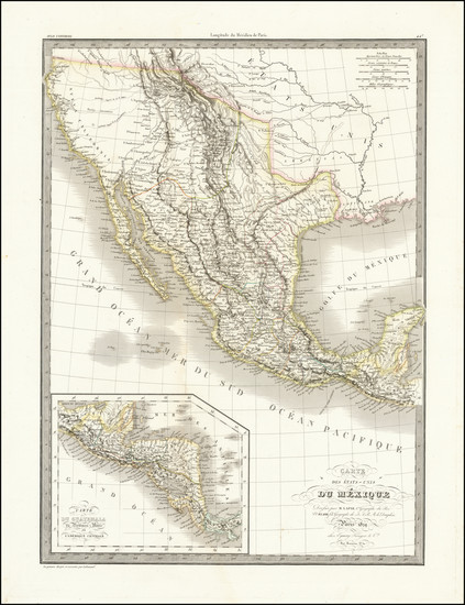 56-Texas, Southwest, Rocky Mountains, Mexico and California Map By Alexandre Emile Lapie