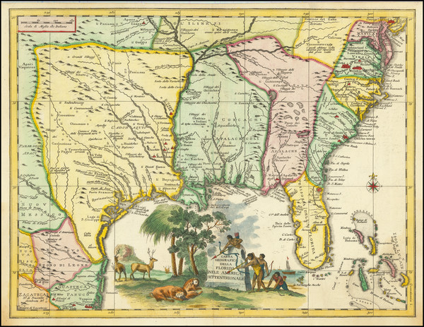 56-Florida, South, Southeast and Texas Map By Giambattista Albrizzi