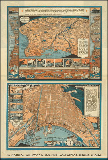 67-Los Angeles and Other California Cities Map By Mary Hall Atwood