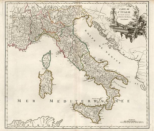 0-Europe, Switzerland, France, Italy and Balearic Islands Map By Gilles Robert de Vaugondy / Dela