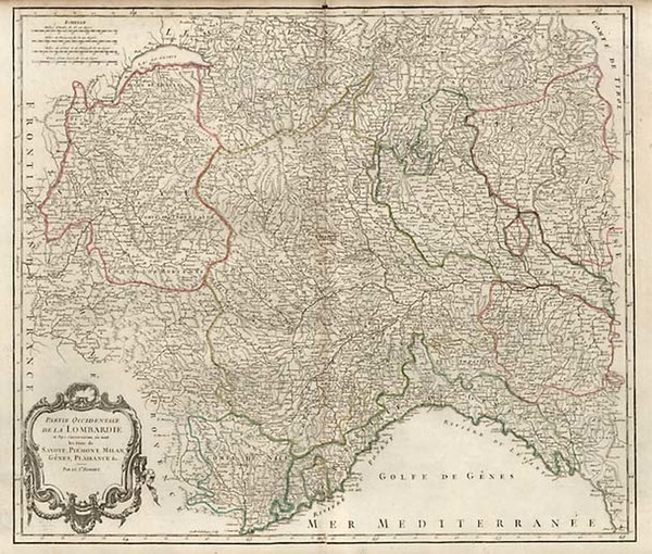 50-Europe, Switzerland, France and Italy Map By Gilles Robert de Vaugondy / Delamarche