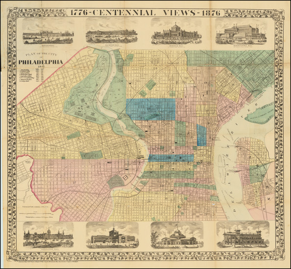 100-Philadelphia Map By Samuel Augustus Mitchell Jr.